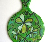 Hand Painted Clovers Cutting Board