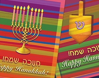 4 Happy Hanukkah Greeting Cards (My Latkes Recipe on the Back)