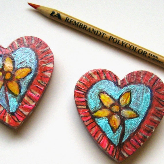 Daisy Love, Hand painted magnets, Flower Art, Wooden Magnets, Flower Painting, Heart Magnets, Love Art