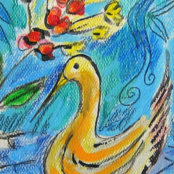 Swan and Flower - Hand Painted Card