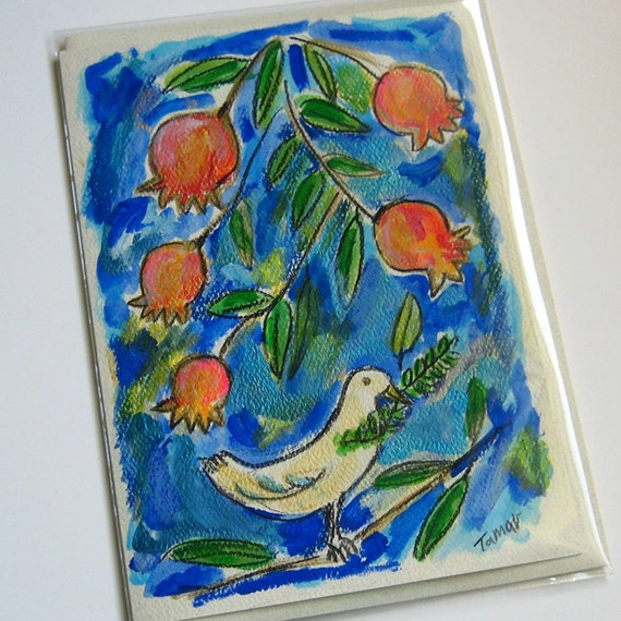 Peace Dove With Pomegranates - Hand Painted Card (5 x 7'')
