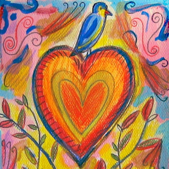 Bird On Your Heart - Hand Painted Card