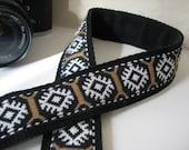 Vintage camera strap - CHARLIE, 70's Vintage Trim Strap (Extended Length) Black and Tan