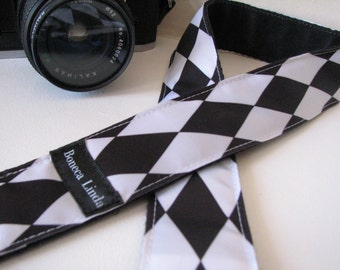camera strap, handmade - Black and White Diamond, (extended length)