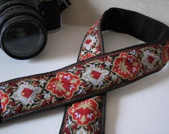 camera strap - Red Floral design (Extended Length)