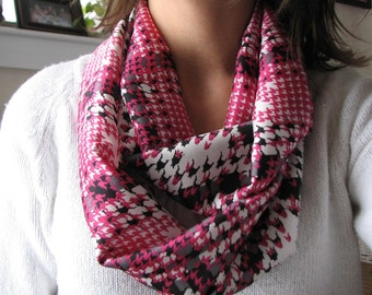 Pink Houndstooth Silky Satin Infinity Scarf