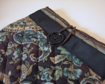 Quilted Sleeve /Case for Kindle or Nook Color, Brown and Green Paisley
