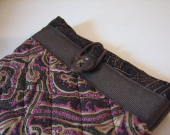 Quilted Sleeve /Case for Kindle or Nook Color, Brown, Pink and Metallic Brocade