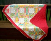 Lap Quilt, Crib Quilt, Cottage Chic, Mother's Day, Gift, Moda Swanky, Quiltsy Handmade
