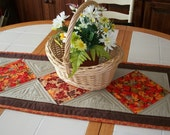 Quilted Table Runner - Table Runner - Autumn - Fall Leaf Print - Thanksgiving - Quiltsy Handmade