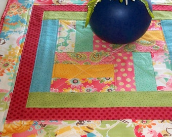 Quilted Table Topper - Wall Hanging - Doll Quilt - Moda Fabric - under 50