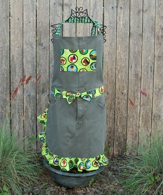 Full Apron, Upcycled Denim,  Olive Green, Apron, Girls Scout