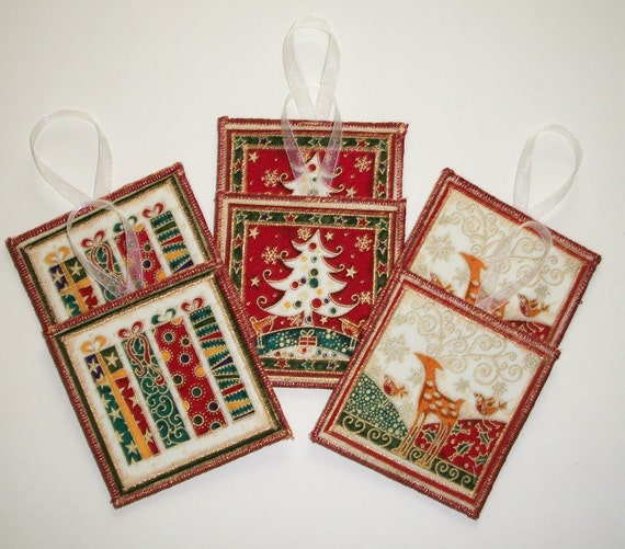 Fabric Christmas Gift Tags - Ornaments - Set of 6