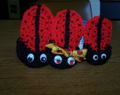 Crocheted Ladybug Refrigerator Magnets - Red - Black - Family of Three - Gift - Unique