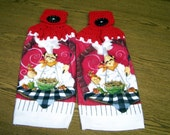 Crocheted Red and White Chef with Spaghetti Terrycloth Towels - Set of 2 - Adorable - Washable - Gift