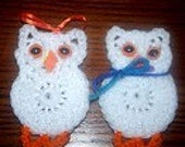 Crocheted Mr and Mrs Owl Refrigerator Magnets - White - Orange - Gift