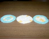 Crocheted Round Soft Face and Body Scrubbies - Set of 3 - Yellow and Green