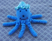 Ollie the Crocheted Octopus - Blue  with cute crocheted hat - OOAK - Unique - Soft - Washable