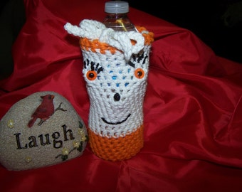 Crocheted Baby Bottle Cozy, Water Bottle Cozy, Beer and Soda Can Cozy - White - Orange - Black
