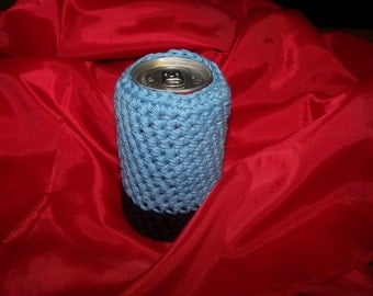 Crocheted Soda Can Cozy or Been Can Cozy - Blue - Black