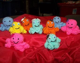 Crocheted Octopus - Playful Toy - Plush - Quality Made - Safety eyes so no choking - Washable
