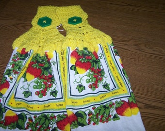 Lovely Strawberries on a Vine - Set of 2 Hanging Crocheted Towels - Washable