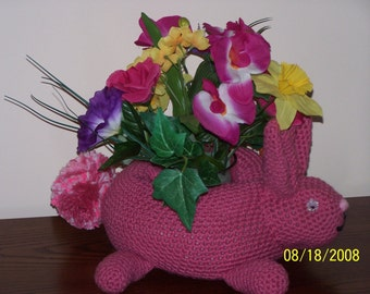 Rabbit Crocheted  Plant Holders Filled with Silk Flowers or Candle - Easter -  Decoration - toy