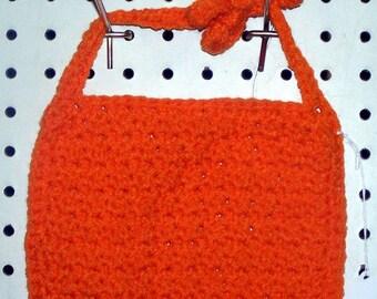 Crocheted Bright Orange Baby Bib - Newborn to 6 Months Size - Washable - Gift