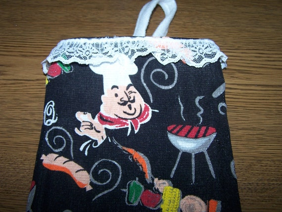 Its a Man's World - Bar-B-Q  Dad's Plastic Bag Holder - Awesome and Just for Him - Gift
