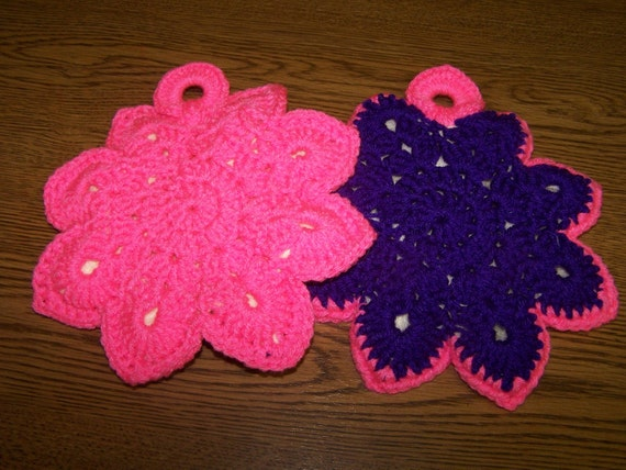 Crocheted Star  Pot Holders - Bright Pink and Dark Purple -  Washable