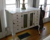 Vintage Industrial White Enamel Zinc Gray  Dental Cabinet
