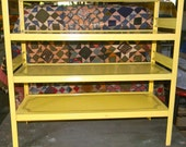 Vintage Modern Metal Yellow Freestanding Shelf