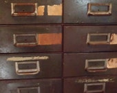 Vintage Industrial Card Catalog Cabinet 26 Drawers and Pull Out Tray