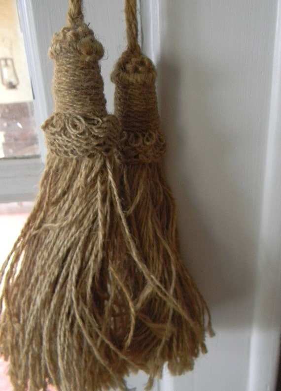 Vintage Burlap Curtain Swag Or Tie Back