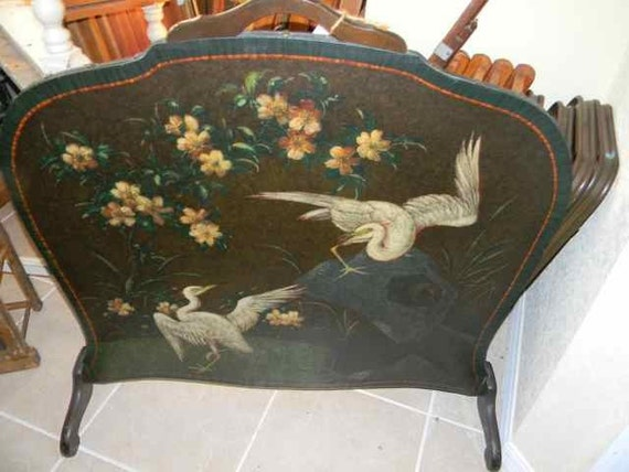 Vintage Leather Hand Painted Fireplace Screen