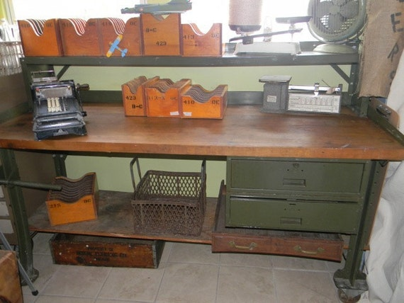 Rare Industrial Work Bench with Second Shelf and Drawers