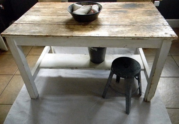 Vintage Fresh Early 1900s Farmhouse Table Or Kitchen Island