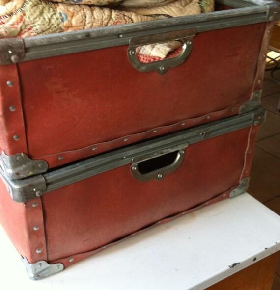 Vintage Industrial Coated Fiberboard Stacking Bins