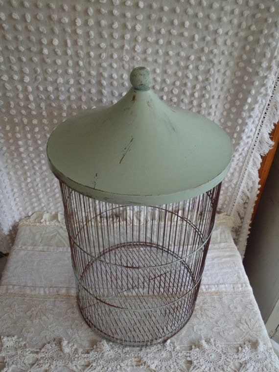 Vintage Mint Green and Gold  Metal Bird House