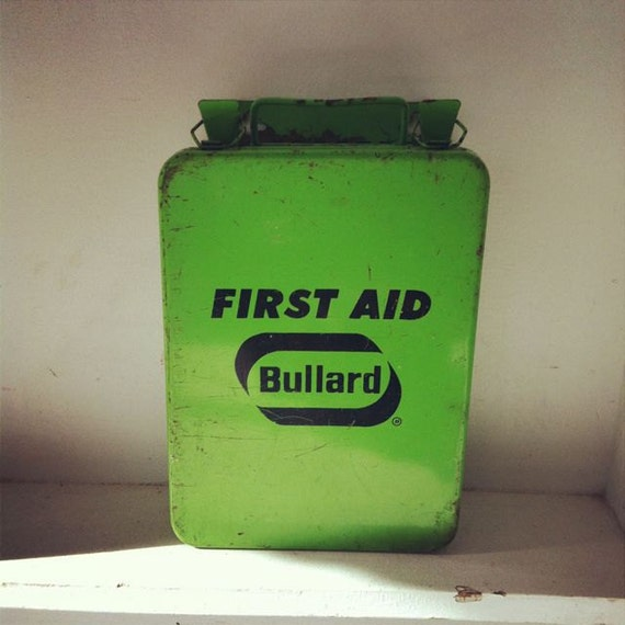 Vintage Lime Green Bullard First Aid Wall Cabinet