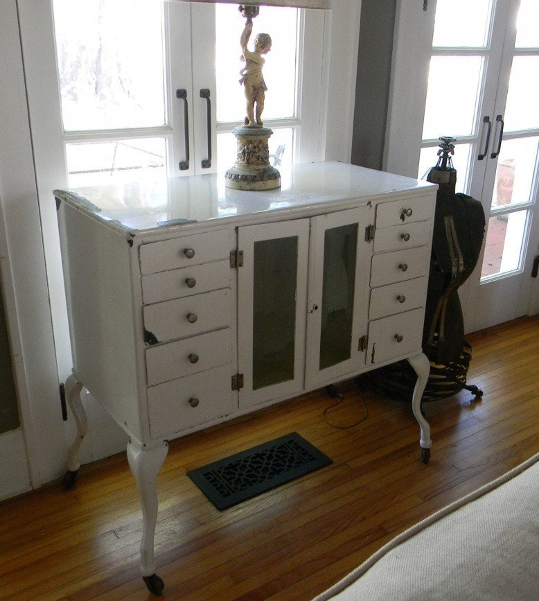Vintage Industrial White Enamel Zinc Gray Dental Cabinet
