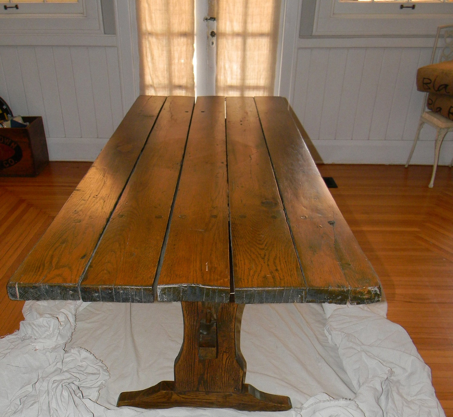 Antique Farm House Trestle Table Wide Plank