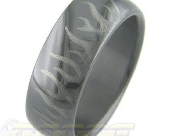 Black Zirconium Laser Series Rings - many styles are available