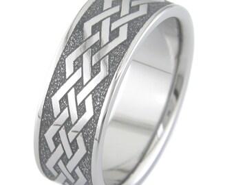 Celtic Straight Knots Titanium Ring