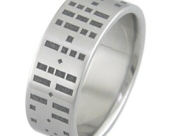 Morse Code Titanium Ring