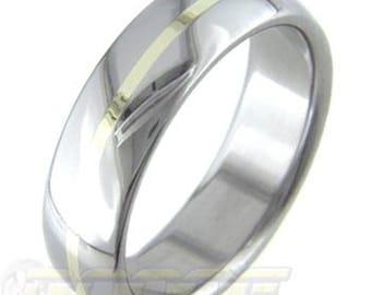 GoldBand - Titanium ring inlaid with pure GOLD