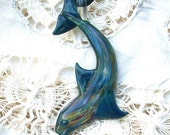 Teal Diving Dolphin Hand Blown Glass Pendant, Focal Bead, Lampwork