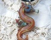 Caramel Hand Blown Glass Seahorse Pendant, Necklace