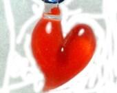 Orange Glass Heart Pendant or Focal Bead