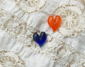 Hand Sculpted Heart Earrings, One Orange, One Blue, on Posts
